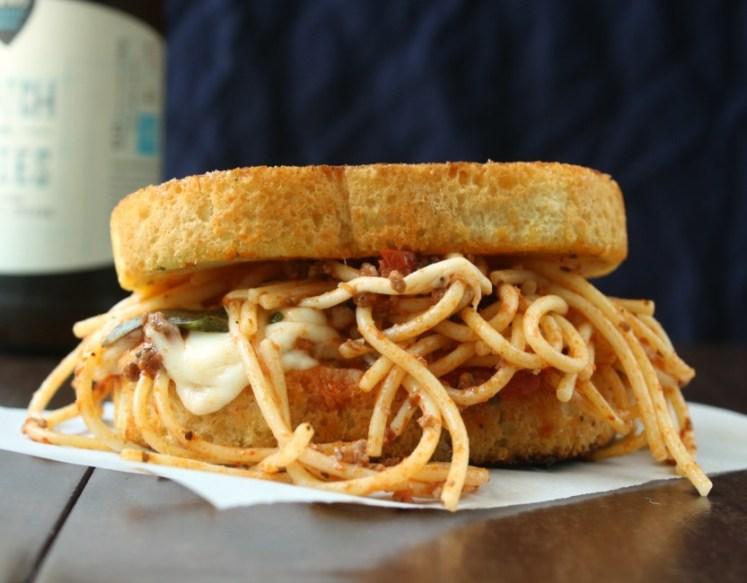 Grilled Mozzarella and Spaghetti Sandwich