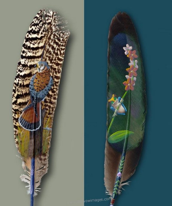 Drawings on feather? Creative Art Medium