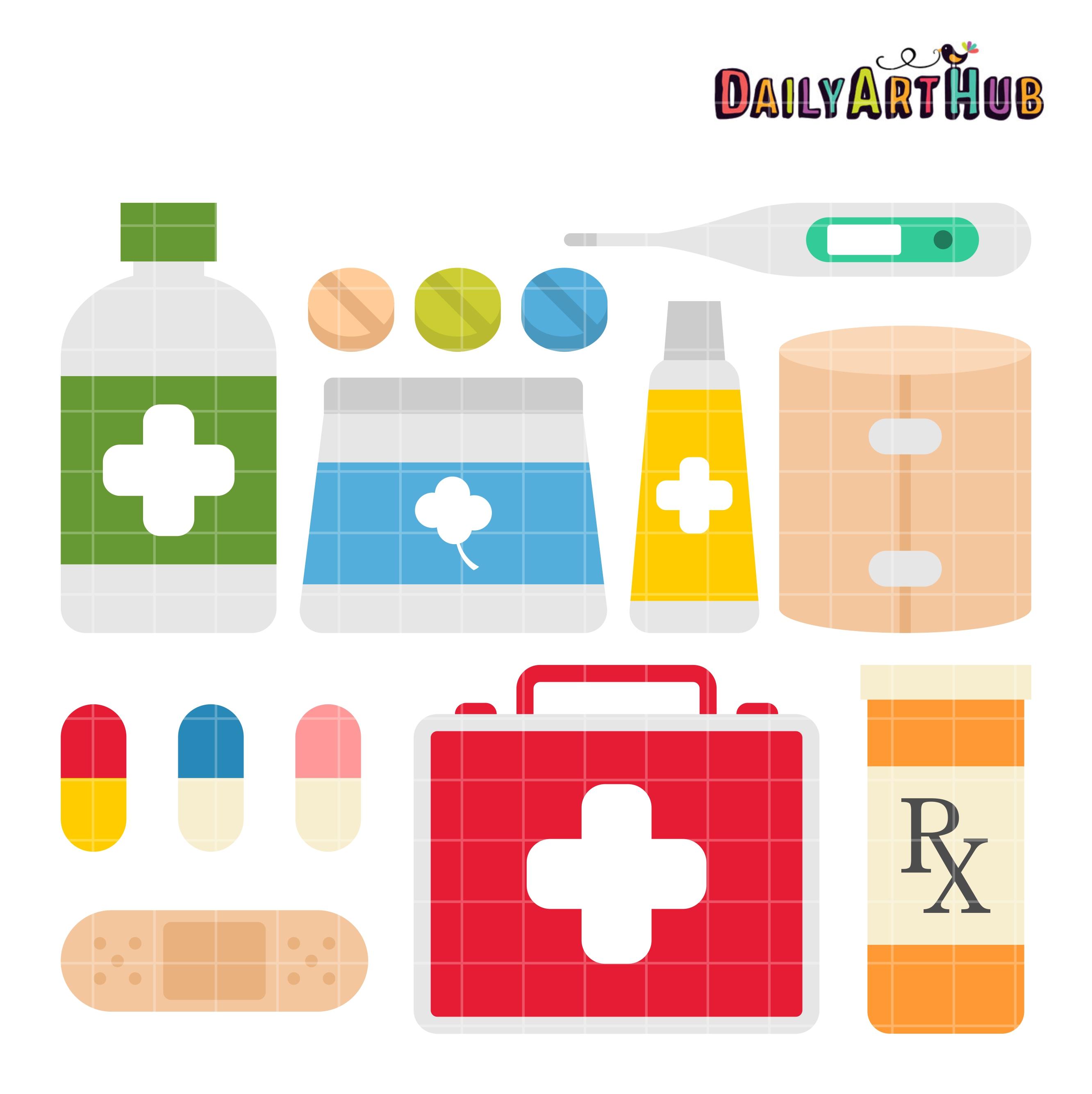 First Aid Kit Clip Art Set