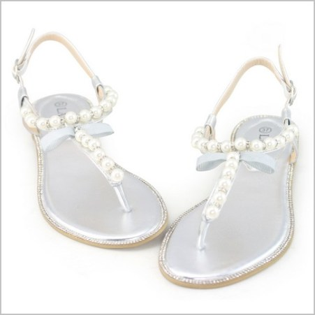 Silver Flat Sandals for Wedding