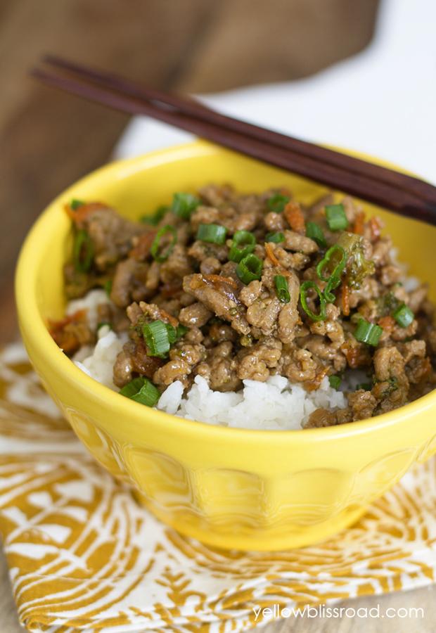 Ground Turkey Recipes: Teriyaki Rice Bowl with Ground Turkey