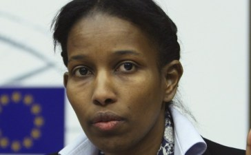 Somali-born Ayaan Hirsi Ali, a former Dutch parliamentarian, gestures as she speaks at the European Parliament in Brussels February 14, 2008. (REUTERS/Francois Lenoir)
