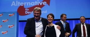 Petry, chairwoman of the anti-immigration party Alternative for Germany (AfD), and AfD leader Meuthen stand at the end of the second day of the AfD congress in Stuttgart