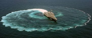 The littoral combat ship USS Independence sails in circles off the coast of San Diego, Calif. (U.S. Navy photo by Mass Communication Specialist 2nd Class Daniel M. Young/Released)