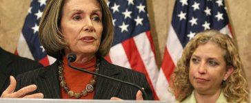 Nancy Pelosi beside Debbie Wasserman Schultz. Mark Wilson/Getty Images.