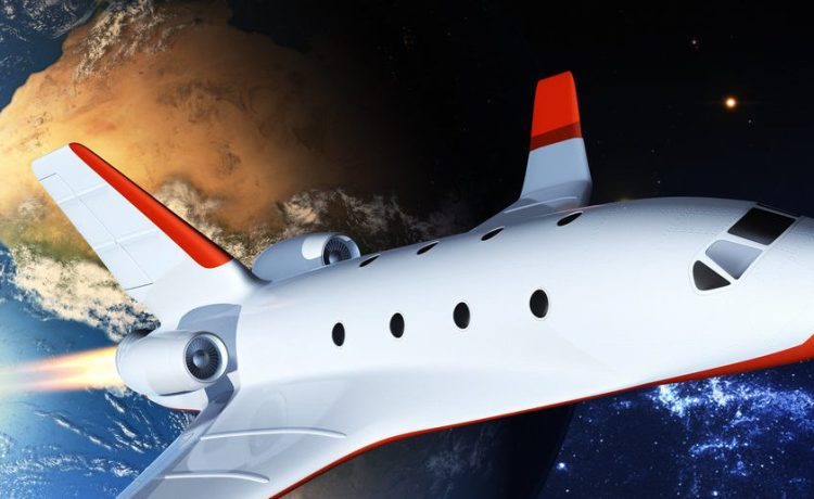 Touristic space shuttle. Elements of this image furnished by NASA. (Shutterstock/Tatiana Shepeleva)