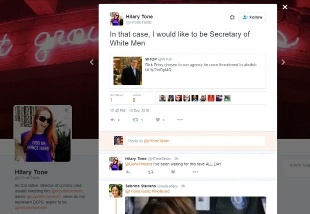 Hilary Tone of D.C. Public Schools calls for abolishing all white men. [Twitter screengrab]