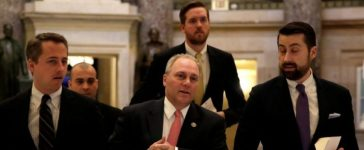 U.S. House Republican Whip Steve Scalise (R-LA) (C) walks to the House Chamber to vote on Obamacare repeal, on Capitol Hill in Washington, U.S., January 13, 2017. REUTERS/Yuri Gripas