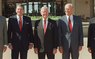 Five US Presidents pose for picture in front of the Reagan Library November 4th 1991 in Simi Valley, Ca. Never before have five American Presidents been together. From left, in order of their Presidencies are Presidents George Bush, Ronald Reagan, Jimmy Carter, Gerald Ford and Richard Nixon. (Photo credit: HAL GARB/AFP/Getty Images)