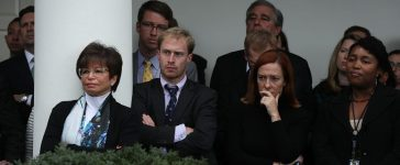 White House staff, including Press Secretary Josh Earnest (2nd L), senior advisor Valerie Jarrett (3rd L) and Communication Director Jen Psaki (2nd R), listen as U.S. President Barack Obama makes a statement on the election results at the Rose Garden of the White House November 9, 2016 in Washington, DC. Republican presidential nominee has won the election and will become the 45th president of the United States. (Alex Wong/Getty Images)