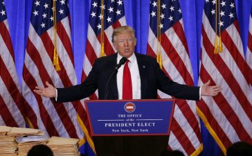 U.S. President-elect Donald Trump speaks during a news conference in the lobby of Trump Tower in Manhattan, New York City, U.S., January 11, 2017. (REUTERS/Lucas Jackson)