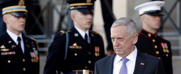 U.S. Defense Secretary James Mattis waits to welcome Canada's Minister of National Defense Harjit Sajjan at the Pentagon in Washington, U.S., February 6, 2017. REUTERS/Yuri Gripas