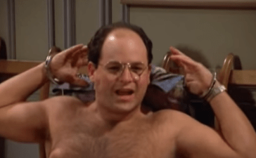 "George Costanza of the famous show ""Seinfeld"" is handcuffed to a bed and robbed after arranging to meet with a woman. [Screenshot/YouTube - User: mythartt] https://www.youtube.com"