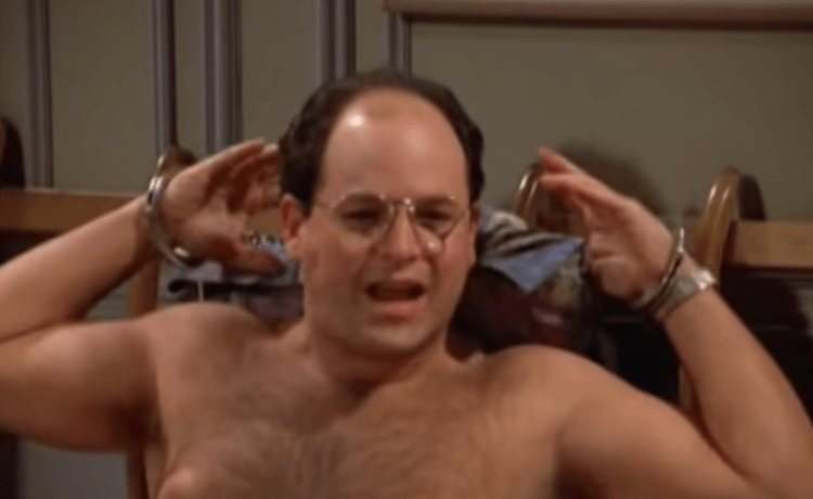 """George Costanza of the famous show """"Seinfeld"""" is handcuffed to a bed and robbed after arranging to meet with a woman. [Screenshot/YouTube - User: mythartt] https://www.youtube.com"""