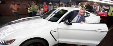 Ford Executive Chairman Bill Ford gets into the driver's seat of the new 2015 Mustang Shelby GT 350R to drive it off the assembly line at the Ford Flat Rock Assembly Plant August 20, 2015 in Flat Rock, Michigan. (Photo by Bill Pugliano/Getty Images)