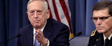 U.S. Defense Secretary James Mattis (L) and Army Gen. Joseph Votel, commander of U.S. Central Command, brief the media at the Pentagon in Washington, U.S., April 11, 2017. REUTERS/Yuri Gripas
