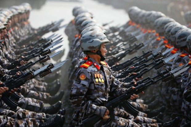 North Korean soldiers march during a military parade marking the 105th birth anniversary of country's founding father, Kim Il Sung in Pyongyang, North Korea April 15, 2017. REUTERS/Damir Sagolj