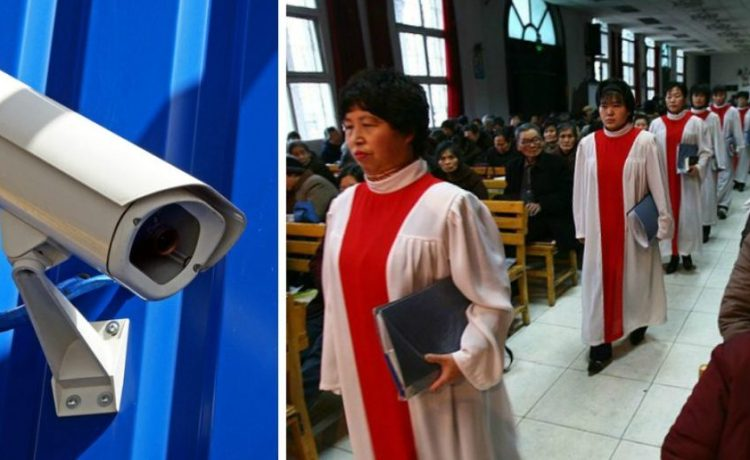 Left: A surveillance camera. [Shutterstock - Bildagentur Zoonar GmbH] Right: The Choir prepares to sing during a worship at the Xichuan Christian Church December 17, 2006 in Xining of Qinghai Province, China. [Photo by China Photos/Getty Images]