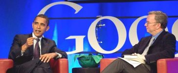 MOUNTAIN VIEW, CA - NOVEMBER 14: Eric Schmidt (R), Google Chairman and Chief Executive Officer, interviews Democratic, Presidential hopeful Senator Barack Obama (D-IL) during a town hall meeting at Google headquarters November 14, 2007 in Mountainview, California. In his visit Obama spoke on his position of Net Neutrality, keeping the internet a free, open network. (Photo by Kimberly White/Getty Images)