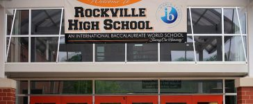 A banner for Rockville High School is displayed in Rockville, Maryland. The school has been closed indefinitely due to a probable case of swine flu on May 1, 2009. TIM SLOAN/AFP/Getty Images