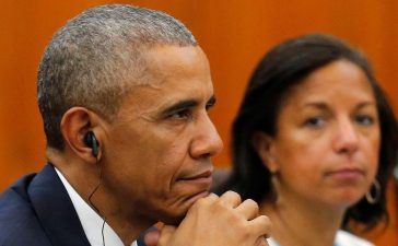 U.S. President Barack Obama National Security Advisor Susan Rice (R) attend a bilateral meeting with Vietnam's Prime Minister Nguyen Xuan Phuc (not pictured) at the Presidential Palace Compound in Hanoi, Vietnam May 23, 2016. REUTERS/Carlos Barria - RTSFHL1
