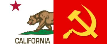 California's state flag (Shutterstock), and the Soviet Union hammer and sickle (Shutterstock)