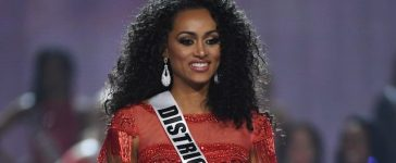 LAS VEGAS, NV - MAY 14: Miss District of Columbia USA 2016 Kara McCullough is named a top 10 finalist during the 2017 Miss USA pageant at the Mandalay Bay Events Center on May 14, 2017 in Las Vegas, Nevada. (Photo by Ethan Miller/Getty Images)