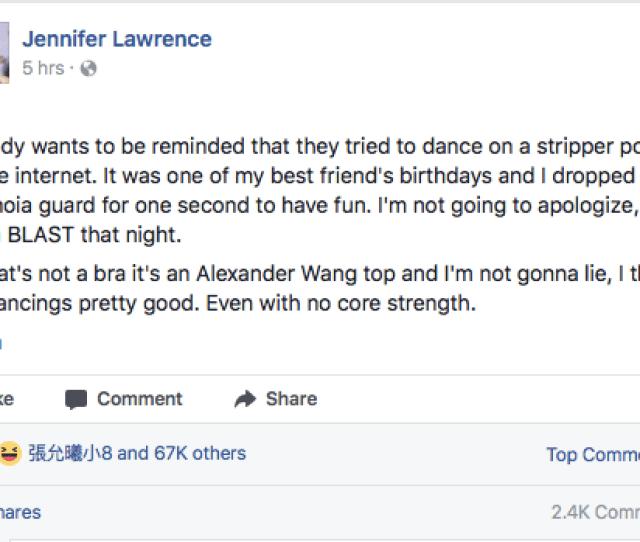 Jennifer Lawrence Photo Facebook Screenshot