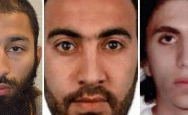 Italian national Youssef Zaghba, 22, identified by Italian and British law enforcement bodies as the third man shot dead by police officers during the attack on London Bridge and Borough Market is seen on right with the other two men named, Khuram Shazad Butt on left and Rachid Redouane, in an undated image handed out by the Metropolitan Police, June 6, 2017, Metropolitan Police Handout via REUTERS