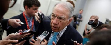 Sen. Chuck Grassley (R-IA) speaks to reporters about recent revelations of President Donald Trump sharing classified information with Russian Officials on Capitol Hill in Washington, D.C., U.S. May 16, 2017. REUTERS/Aaron P. Bernstein