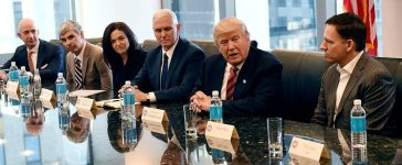 (L-R) Amazon's chief Jeff Bezos, Larry Page of Alphabet, Facebook COO Sheryl Sandberg, Vice President elect Mike Pence, President-elect Donald Trump and Peter Thiel, co-founder and former CEO of PayPal at during meetings at Trump Tower in New York December 14, 2016. (Photo: TIMOTHY A. CLARY/AFP/Getty Images)