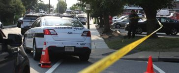 Investigators gather near the scene of an opened fire June 14, 2017 in Alexandria, Virginia. Multiple injuries were reported from the instance. (Alex Wong/Getty Images)