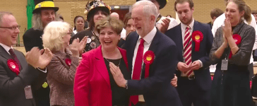 Jeremy Corbyn celebrates with fellow Labour Party MP Emily Thornberry (YouTube Screengrab/ODN)