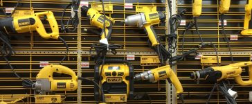 RIVER FALLS,WISCONSIN-AUGUST 24,2015: A display of numerous DeWALT power tools. DeWALT is headquartered in Baltimore,Maryland. (Photo via Shutterstock)