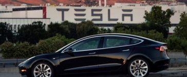 First production model of Tesla Model 3 out the assembly line in Fremont, California , U.S. is seen in this undated handout photo from Tesla Motors obtained by Reuters July 10, 2017.