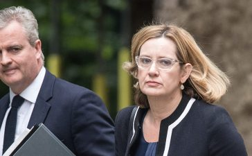 Home Secretary Amber Rudd (R) arrives for a COBRA meeting in Downing Street on May 23, 2017 in London, England. Prime Minister Theresa May has held a COBRA meeting this morning following a suicide attack at Manchester Arena as concert goers were leaving the venue after Ariana Grande had performed. Greater Manchester Police have confirmed the explosion as a terrorist attack with 22 fatalities and 59 injured. (Photo by Carl Court/Getty Images)