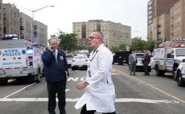 BRONX, NY - JUNE 30: Hospital employees exit Bronx-Lebanon Hospital Center on June 30, 2017 in the Bronx borough of New York city. A former hospital employee shot and killed one and injured at least six other people before gunning himself down with an assault rifle, reports said the gunman, Henry Bello, was a Bronx-Lebanon doctor employed in family medicine. (Photo by Yana Paskova/Getty Images)