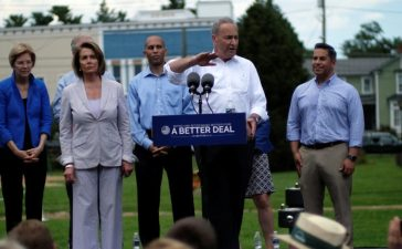 "(L to R) U.S. Rep. David Cicilline (D-RI), Sen. Elizabeth Warren (D-MA), House Minority Leader Nancy Pelosi (D-CA), Rep. Hakeem Jeffries (D-NY), Senate Minority Leader Chuck Schumer (D-NY), Rep. Ben Ray Lujan (D-NM), Sen. Mark Warner (D-VA), and Rep. Cheri Bustos (D-IL) unveil the Democratic party's ""A Better Deal"" for working Americans in Berryville, Virginia, U.S., July 24, 2017. REUTERS/James Lawler Duggan - RTX3CR1W"