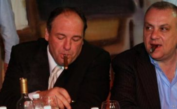 Seven members of the Sopranos cast got together at the Atlantic City Hilton and Resorts Casinos in Atlantic City for a Meet-n-Greet and tell all Q & A session the members present Tony Soprano (James Gandolfini), and Johnny 'Sack' Sacramoni (Vincent Curatola) have a cigar on break on Saturday June 23, 2007 (Photo by Tom Briglia/FilmMagic/Getty Images)