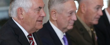 U.S. Secretary of State Rex Tillerson, Defense Secretary Jim Mattis, and Joint Chief Chairman Joseph Dunford attend a security dialogue meeting with members of the Chinese government at the State Department, on June 21, 2017 in Washington, DC. (Photo by Mark Wilson/Getty Images)