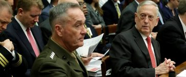 U.S. Defense Secretary James Mattis (R) and Joint Chiefs Chairman Marine Gen. Joseph Dunford wait to testify before a House Armed Services Committee hearing on the Pentagon's budget priorities on Capitol Hill in Washington, U.S., June 12, 2017. REUTERS/Yuri Gripas.