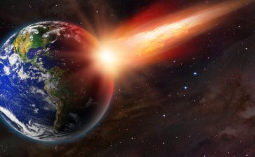 "Attack of the asteroid on the Earth ""Elements of this image furnished by NASA (Shutterstock/muratart)"