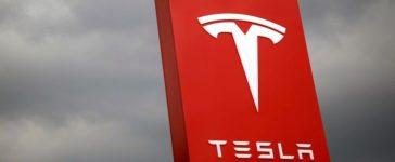 FILE PHOTO - The logo of Tesla is seen in Taipei, Taiwan on August 11, 2017.