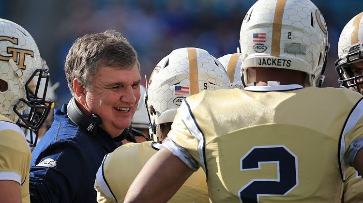 Head coach Paul Johnson of the Georgia Tech Yellow Jackets smiles during the first half of the game against the Kentucky Wildcats at EverBank Field on December 31, 2016 in Jacksonville, Florida. (Photo by Rob Foldy/Getty Images)