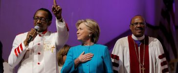 U.S. Democratic presidential nominee Hillary Clinton reacts as she is introduced during services at Mt. Airy Church of God in Christ in Philadelphia, Pennsylvania, U.S. November 6, 2016. (Photo: REUTERS/Brian Snyder )