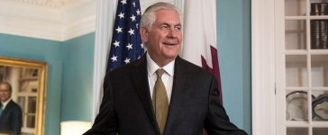 With Qatari Foreign Minister Sheikh Mohammed Bin Abdulrahman Al Thani looking on, U.S. Secretary of State Rex Tillerson responds to a question during a brief media availability before their meeting at the State Department, July 26, 2017 in Washington, DC. When prompted by a reporter's question, Tillerson said 'I'm not going anywhere' and that he will stay on as Secretary of State 'as long as the president lets me.' (Photo by Drew Angerer/Getty Images)