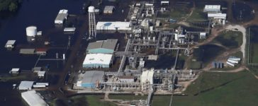 FILE PHOTO: FILE PHOTO: The flooded plant of French chemical maker Arkema SA, which produces organic peroxides, is seen after fires were reported at the facilty in Crosby