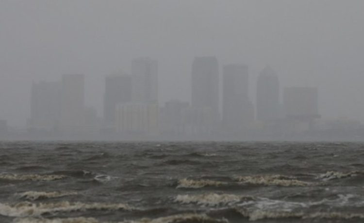 The Tampa skyline is pictured across Hillsborough Bay ahead of the arrival of Hurricane Irma in Tampa, Florida, U.S., September 10, 2017.