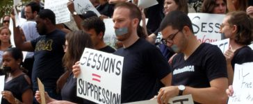 Georgetown University law students protest outside the auditorium where Attorney General Jeff Sessions spoke about free speech rights on U.S. college campuses on Sept. 26, 2017. (Will Racke/TheDCNF)