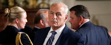 White House Chief of Staff John Kelly stands before a Medal of Honor ceremony in the East Room of the White House in Washington, U.S., July 31, 2017. REUTERS/Joshua Roberts